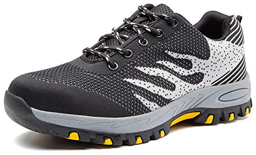 ODOUK Work Shoes Steel Toe Safety Sneakers for Men Women Outdoor Trail Shoe Black 10 Women/8.5 Men (Womans Anti Slip Work Shoe)