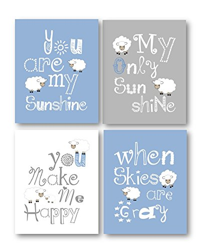 Blue and Gray Nursery Decor, You Are My Sunshine Art, Little Lamb Wall Decor, Nursery Wall Art, Blue and Gray Art Prints for Kids, Set of Four 8x10