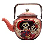 Handmade Hand Printed Tea Kettle Halloween Theme Stainless Steel Grades '18/8' for Home decor, gifts (Brown)