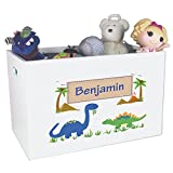 Personalized Dinosaur Childrens Nursery White Open Toy Box