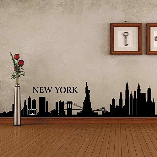 BATTOO New York Wall Decal City NYC Landmark Liberty Skyline Cityscape Travel Vacation Destination USA (10'' h x42 w,Black) by BATTOO