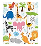 Chaoran 1 Fleece Blanket on Amazon Super Silky Soft All Season Super Plush Animal Cuteet of Giraffe Elephant Zebra Turtle Kids Nursery Baby Themed Cartoon Comic Print Fabric