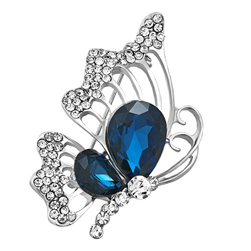 - LovelyCharms Blue Butterfly Brooch Pin