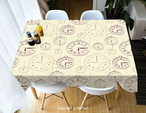 HooSo Premium Polyester Table Cover, Machine Washable, Durable Table Cloths for Wedding Reception Restaurant Banquet Party,Clock,Vintage Watches with Roman Digits Antique,60