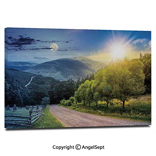 (Canvas Prints Modern Art Framed Wall Mural Day and Night Collage View with Moon and Sun Horizon Countryside Hillside Wall Decorations for Living Room Bedroom Dining Room Bathroom Office,Green)