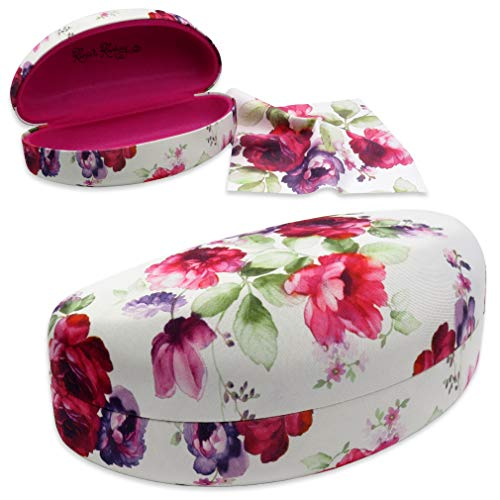 Rachel Rowberry Floral Large Sunglasses Case with eyeglass cleaning cloth in a unique Microfiber ultra soft finish | for Large frames (AS179 Cranberry Rose) by MyEyeglassCase
