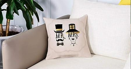 Bedding Fundas de Almohada,Mr Mrs, diseño de Hombre y Mujer con ...