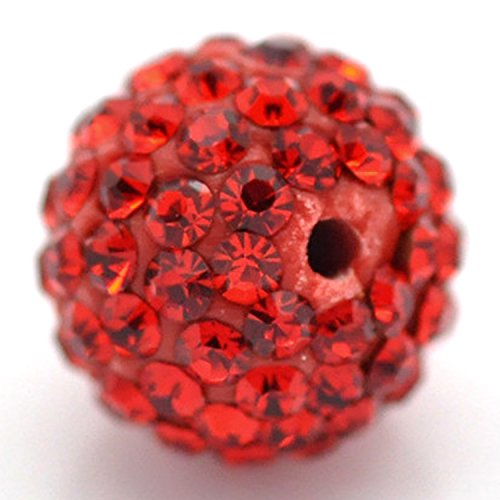 Amazing Disco Balls Clay Beads 8MM Light Siam Red Pave Czech Crystal Rhinestones fit Shamballa Premium Quality - 20pcs DIY By eART - Topaz Disco Ball
