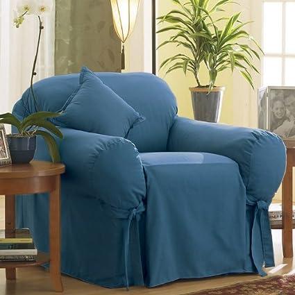 Exceptionnel Sure Fit Cotton Duck   Chair Slipcover   Bluestone (SF33053)