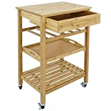 SUPER DEAL Bamboo Rolling Storage Cart Kitchen Trolley Bakers Cart Wine Rack w/Drawers and Shelves