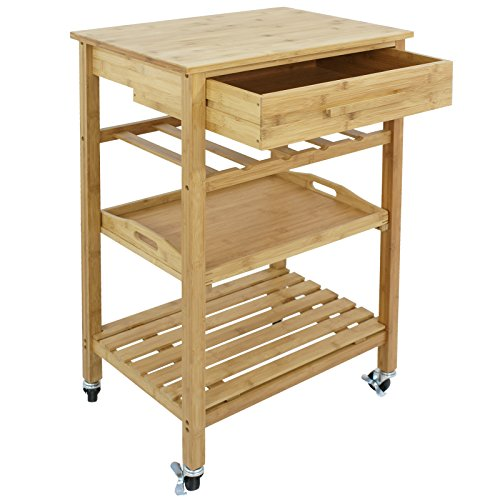 SUPER DEAL Bamboo Rolling Storage Cart Kitchen Trolley Bakers Cart Wine Rack w/Drawers and Shelves by SUPER DEAL