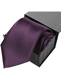 KissTies Mens Solid Satin Tie Pure Color Necktie Wedding Ties + Gift Box