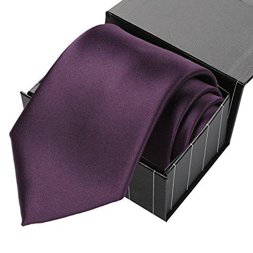 [KissTies Men's Satin Necktie Grape Plum Purple Solid Tie With Gift Box] (Satin Mens Necktie)