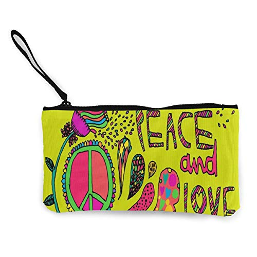 Coin Purse Hippie Peace and Love Girl Zip Canvas Small Purse TravelFantastic Holder