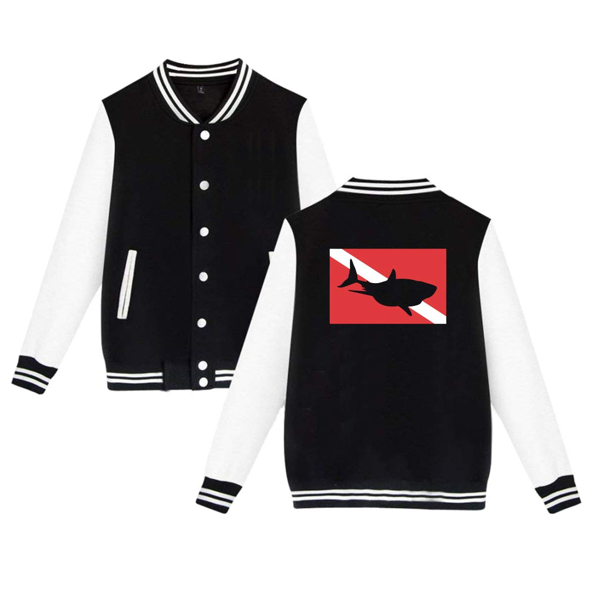 Scuba Diving Shark Baseball Jacket Uniform Unisex Sweater Coat
