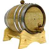 Oak Beverage Dispensing Barrel with Galvanized Steel Bands