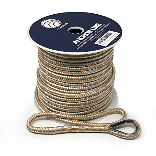 Nylon Anchor Braided - Five Oceans Nylon Double Braided Anchor Rope Line with Thimble 3/8