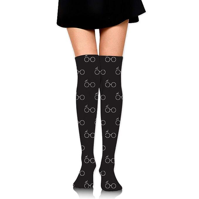 7070b8266 Wizard Glasses Black Women s Knee High Socks Fancy Design