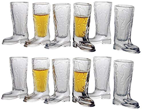 Circleware Kickback Whiskey Glass Shot Glasses Funny Cowboy Boots (Kickback - 12 pc.)