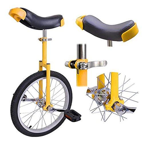 Yellow 18 Inch 18'' Unicycle Cycling Bike With Adjustable Saddle Seat