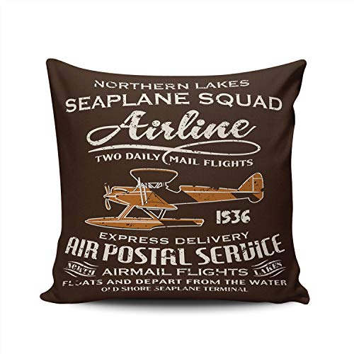KAQIU Vintage Seaplane airmail Service Pillowcase Home Sofa Decorative 24x24 Inch Square Throw Pillow Case Decor Cushion Covers Double Sided Printed