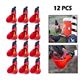 DIAOSnx® 12Pcs Plastic Poultry Automatic Waterer Chicken Water Feeder Drinkers Poultry Water Drinking Cups Bowls