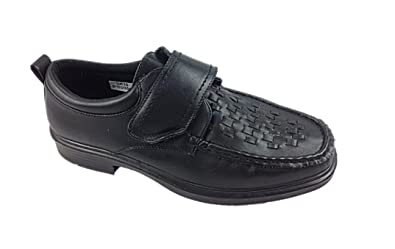 Mens Dr Keller Windermere Black Wide Fit Faux Leather Woven Velcro Strap  Casual Smart Lightweight Shoes