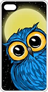 Large Eyed Blue Owl Full Moon White Rubber Case for Apple iPhone 4 or iPhone 4s