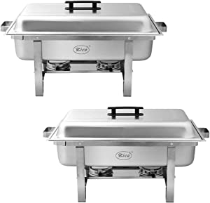 Zica ZC807 2 Packs 8 Quart Full Size Stainless Steel Foldable Frame Chafing Dish Food Warmer Buffet Server, Silver