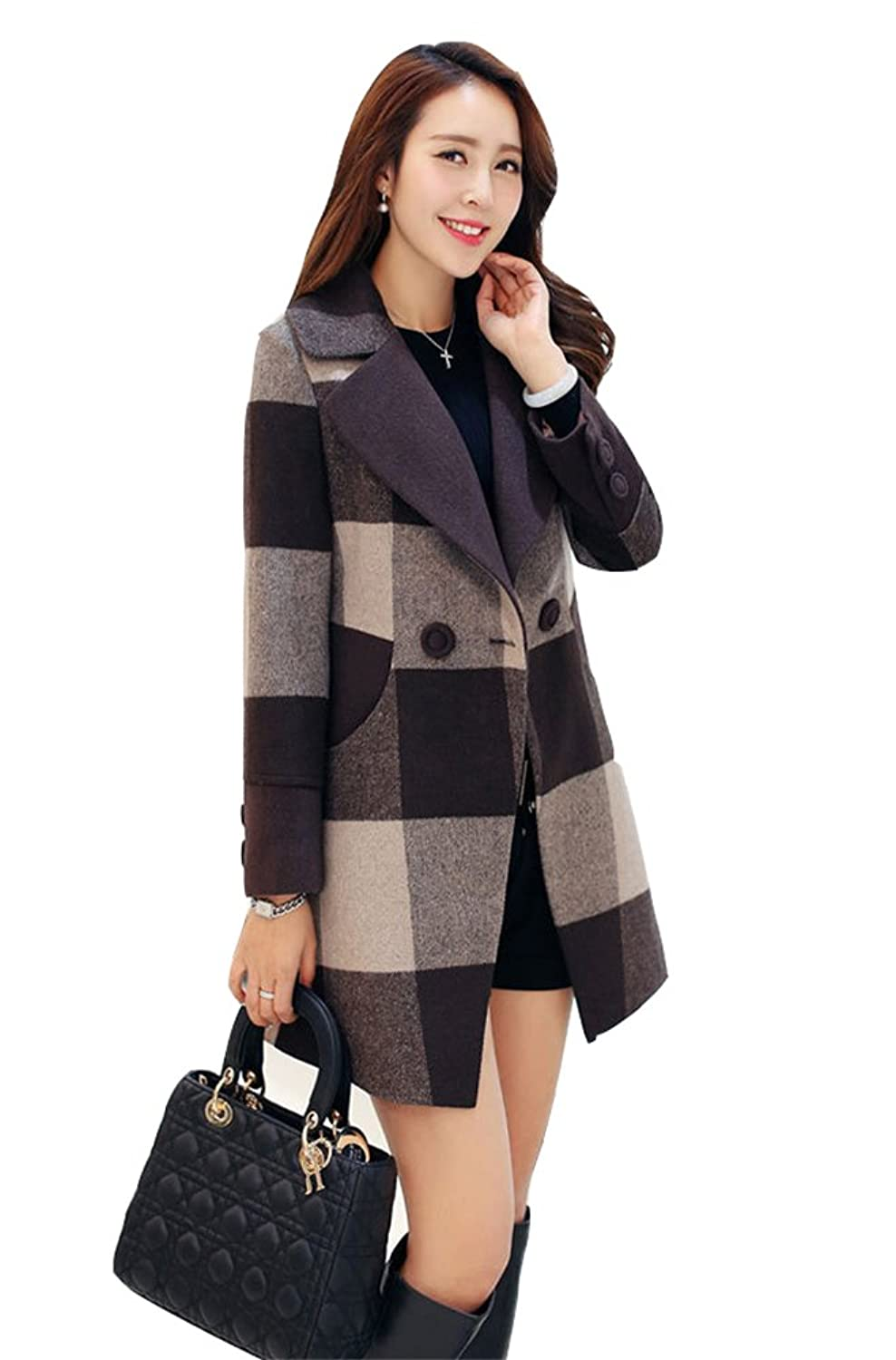 Allbebe Women's Winter Elegant Grid Print Button Pockets Front Midi Wool Coat