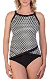 Women's Retro Print Halter High Neck Tankini Top With Bottom Swimsuit M Black and White