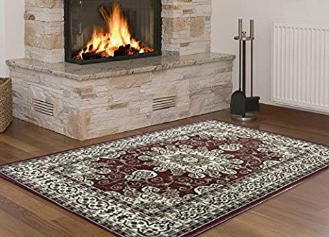 Red Area Rugs 5x7 Size By MSRUGS - Made From Turkey - Classy Traditional Designs - Perfect Area Rugs For Living Room & Kitchen - Indoor or Home in Clearance (5x7, (Indian Design Throw Rugs)