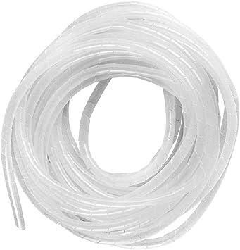 GTIWUNG 25mx4mm Organizador de Cables en Espiral, Tubo Flexible en Espiral Evuelto para PC TV DVD cable de antena estéreo agrupar cable, Blanco