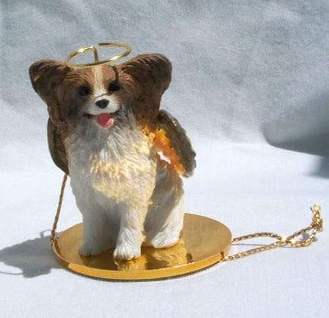 Papillon Ornament Angel Figurine Hand Painted Brown//White