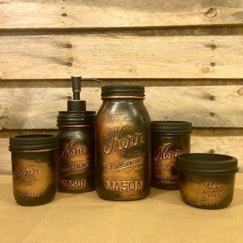 5-Piece-Vintage-Kerr-Mason-Jar-Desk-Organizer-or-Bathroom-Set-Black-Copper-Bathroom-Set-Rustic-Copper-Mason-Jar-Desk-Set-Mens-Rustic-Copper-Bathroom-Accessories