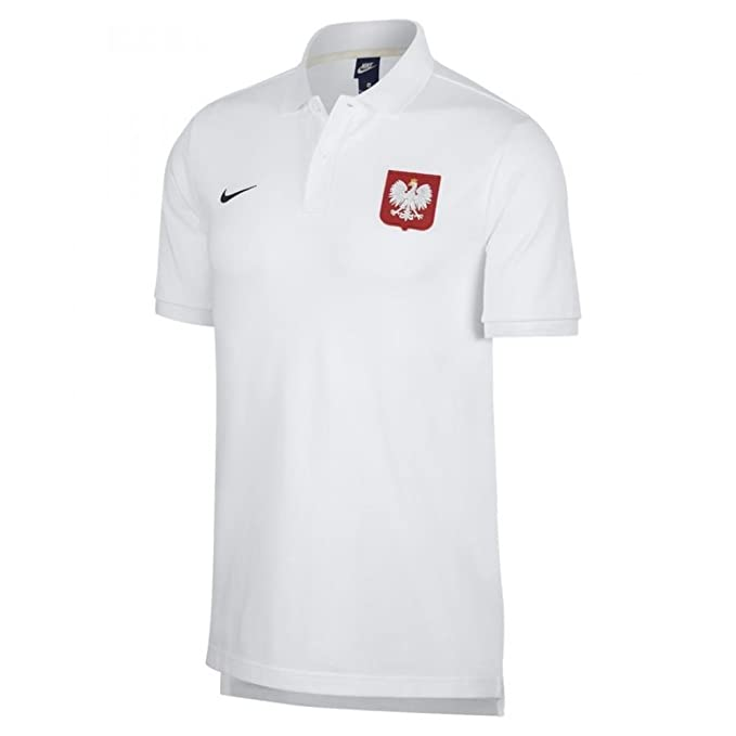 1cfa50a2b Nike 2018-2019 Poland Core Pique Polo Football Soccer T-Shirt (White)   Amazon.co.uk  Sports   Outdoors