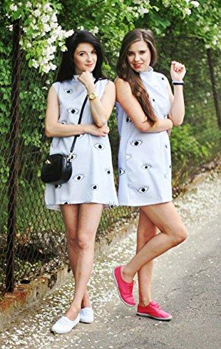 0ec56c8d797f Choies Women s Limited Edition Eyes Print Sleeveless Dress M Blue