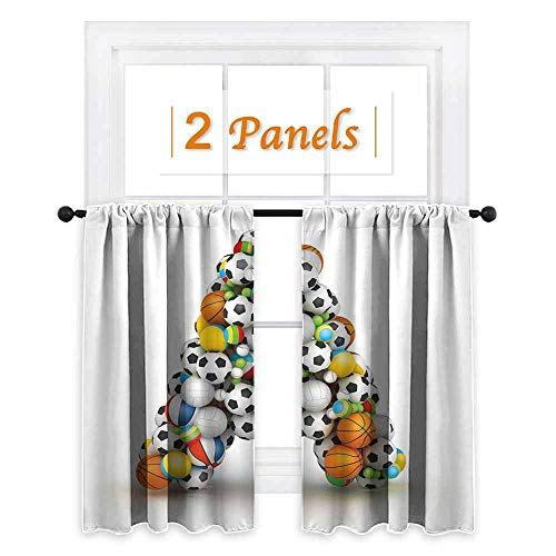 (maisi Letter A, Curtains Blackout 2 Panels, Sports Balls Stacked to Build The First Letter of The Alphabet Capital A Symbol, for Doors with Windows (W63 x L63 Inch) Multicolor )