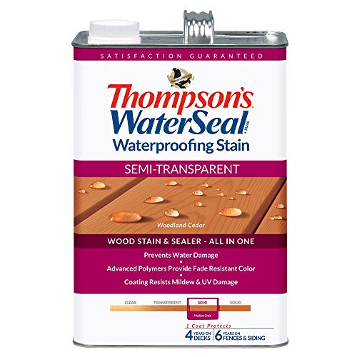 THOMPSONS WATERSEAL TH.042851-16 Semi-Transparent Waterproofing Stain, Woodland Cedar (Best Wood Stain And Sealer)