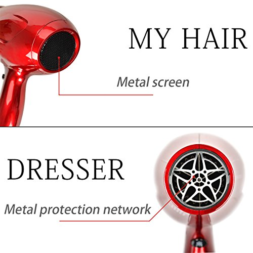 JINRI Hair Dryer 1875W Ceramic Ionic Blow Dryer Infrared Negative Ionic Dryer Cool Shot Button Coco Red