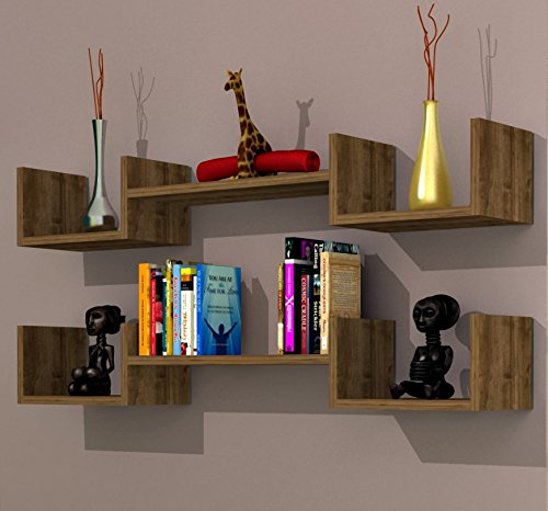 LIFE Mensola da muro - Noce - Mensola Parete - Mensola Libreria - Scaffale  pensile per studio / soggiorno in Design moderno
