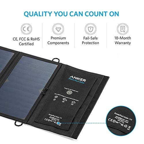 Solar Panel, Anker 15W USB Solar Charger with Dual-Port and Foldable Panel, PowerPort Solar Lite for iPhone 11/Xs/XS Max/XR/X/8/7, iPad Pro/Air/Mini, Galaxy S9/S8/S7/S6, and More