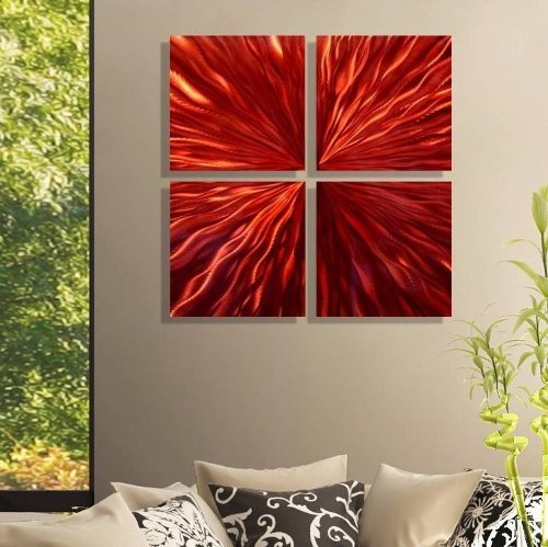 Contemporary Abstract Bright Red Jewel-Toned Metal Wall Painting - Modern Home Office Decor Sculpture Accent Art - Incinerate by Jon -