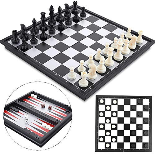 Peradix Chess Set / Backgammon / Checkers 3 in 1 Set, -Magnetic Travel Chess Board Pieces, Educational Toys, Traditional Tactical Strategy Games For Kids/Children, Adults