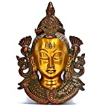 11'' Lord Shiva Wall Hanging Mask, Brass Metal Wall Sculpture Face, Hindu God -Wall Art Décor Collectible Figurine