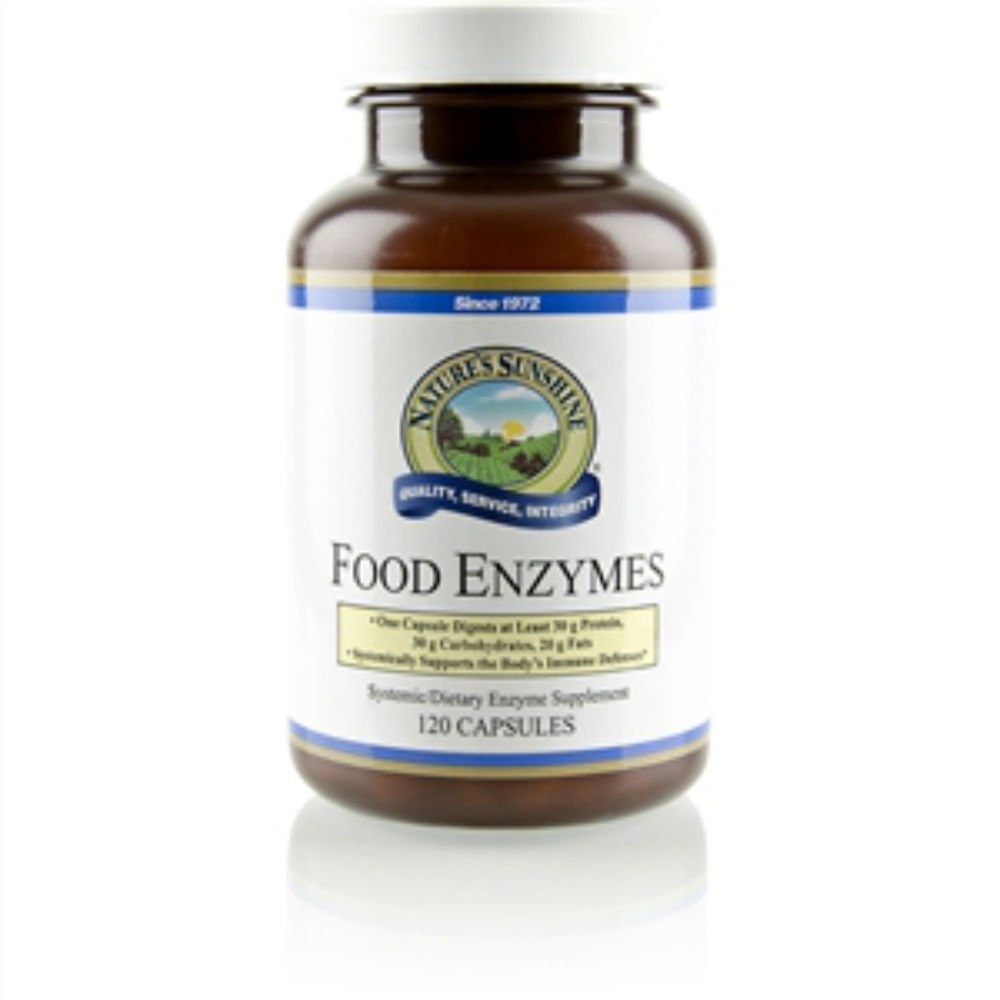 Nature's Sunshine Food Enzymes Supplements for Body's Production of Important Enzymes 120 Caps Each (Pack of 6)