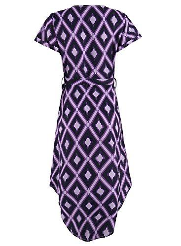 Drimmaks Manches Courtes Femmes Col En V Imprimé Géométrique Robe Midi Décontracté Avec Dm005-violet Ceinture