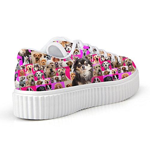 Hugs Idea Casual Rosa Scarpe Con Zeppa Tagliate Cane Stampa Chihuahua Sneakers