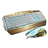 LED Gaming Keyboards and Mouse Combo, BlueFinger 3 Color Adjustable USB Wired Metal Surface Backlight Lighted Keyboard DPI Optical Mouse Set + Customized Mousepad