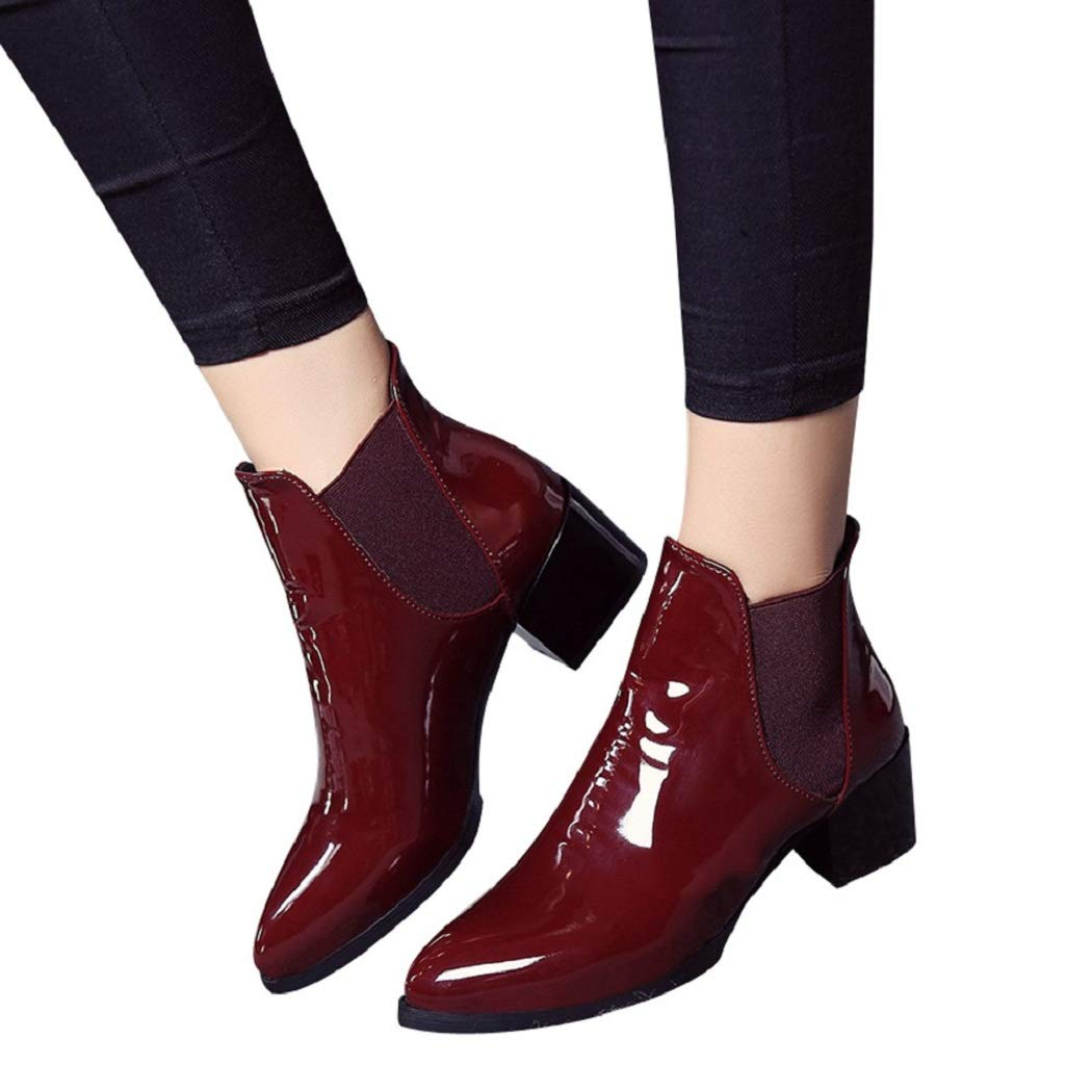 CSSD Newest Women Fashion Elasticated Patent Leather Boots Pointed Low Heel Elastic Band Ankle Boots (Wine, 35)